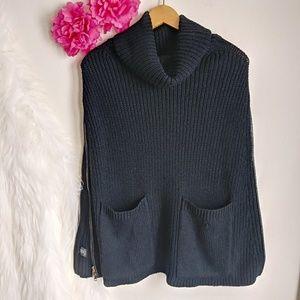 Ann Taylor Black Cape side Zip Poncho Sweater
